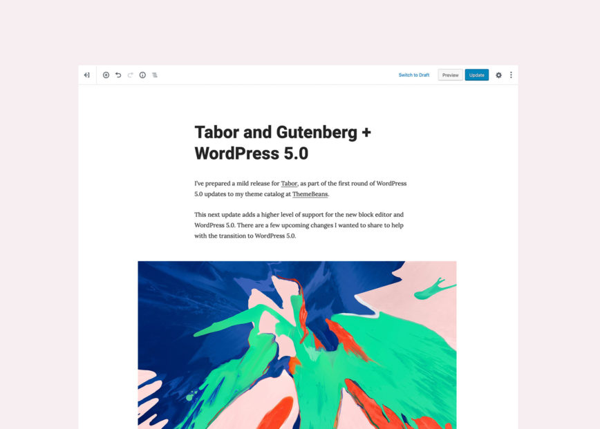 Tabor and Gutenberg + WordPress 5.0