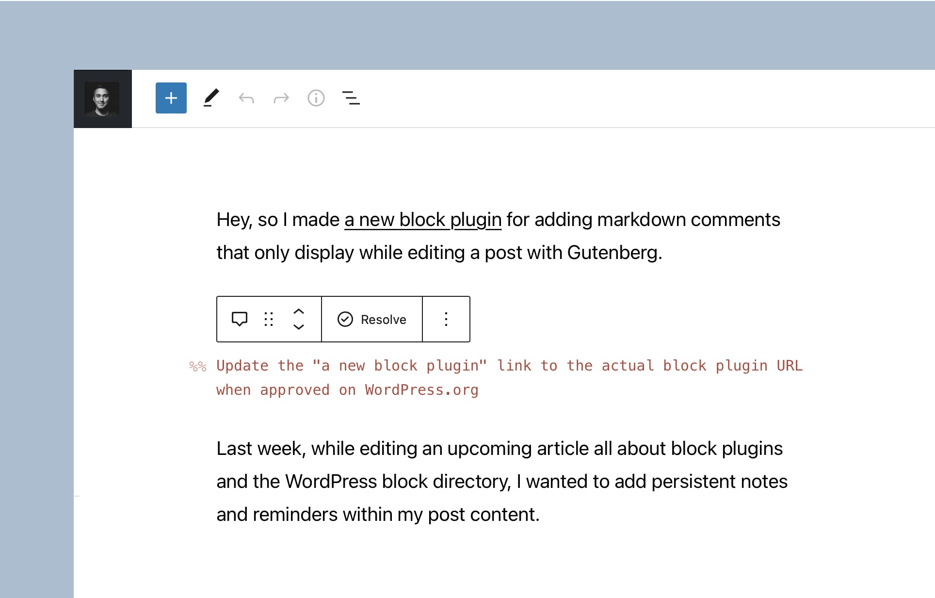 Resolve comments within the Markdown Comment block by Rich Tabor