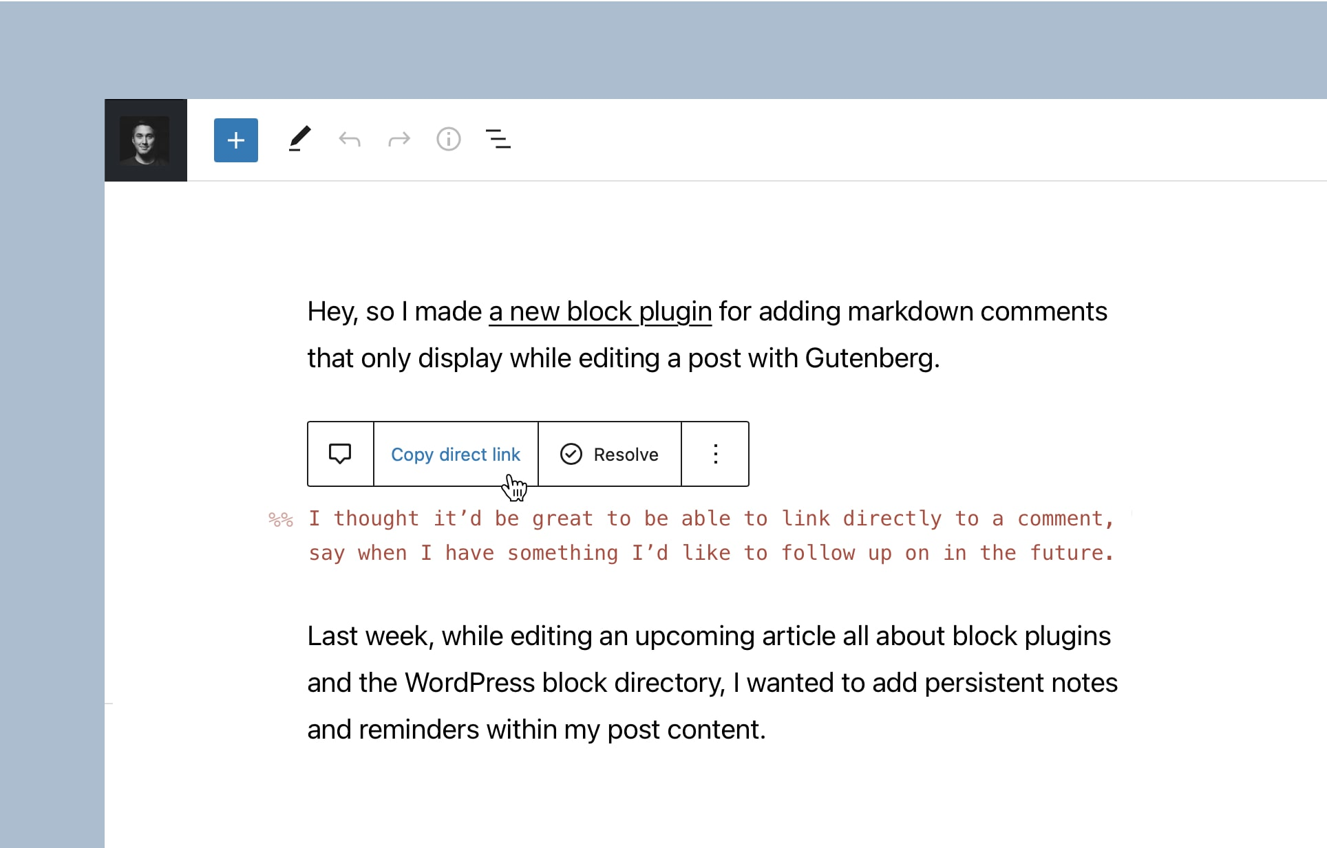 I wanted to directly link to individual comments within the editor.