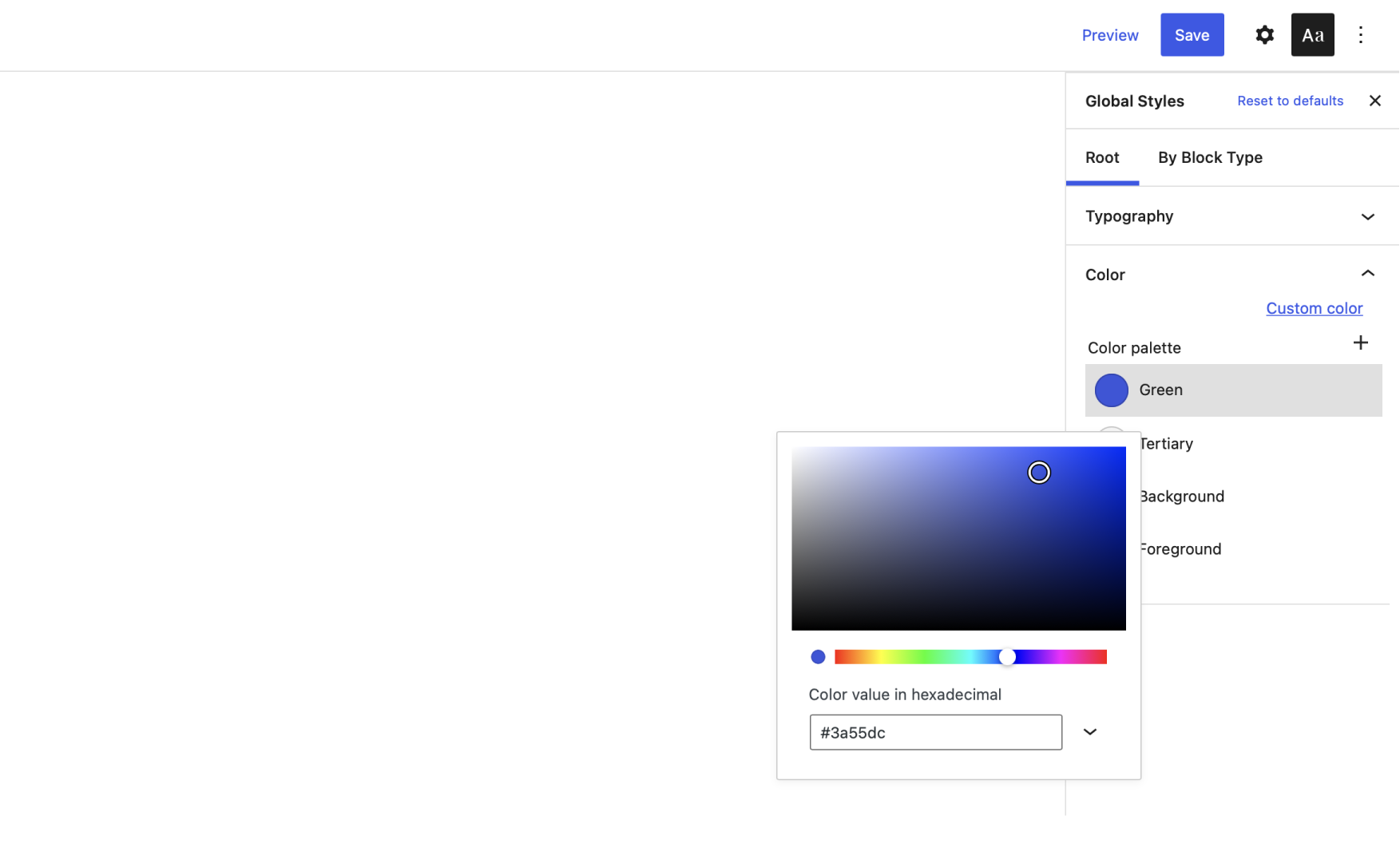 Modifying a theme's color within the Gutenberg Global Styles interface